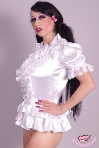 sweet and sexy satin ruffle blouse