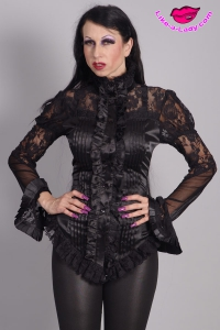 victorian style satin blouse with lace