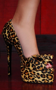 real hair high fashion Leopard Heels