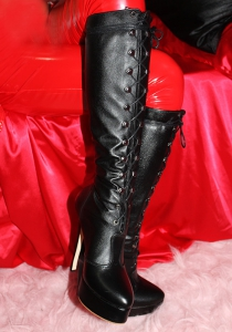 Custom size Leather Lace-up Knee Boots