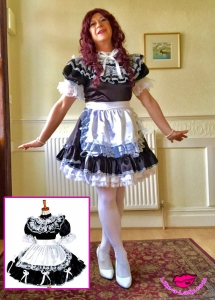 victorian housemaid and sissy satin dress