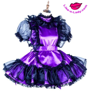 satin sissy dress with glass silk sleeves, volants and ruffles