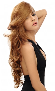 long softly curled glamour wig