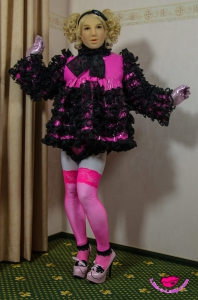 PVC DOLL extreme fetish plastic sissy dress w. matching panty